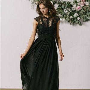 Morning Lavender Long black lace dress